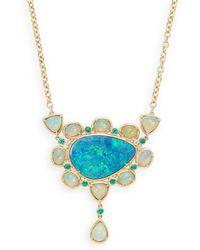 Rina Limor - Australian Ethiopian & Doublet Opal, Emerald & Diamond Bezel Set Necklace - Lyst