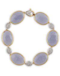 Marco Bicego Paraidse 18k Two-tone 0.62 Ct. Tw. Diamond & Chalcedony Bracelet - Blue