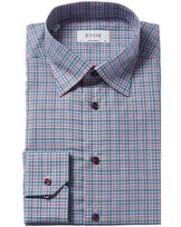 Eton Check Contemporary Fit Dress Shirt - Pink