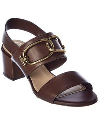 Tod's Chain Strap Leather Sandal - Brown