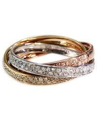 Effy - Fine Jewelry 14k Tri-color 0.52 Ct. Tw. Diamond Ring - Lyst