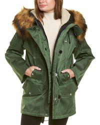 Burberry Faux Fur & Cotton Coat - Green