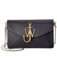 JW Anderson Logo Leather Wallet On Chain - Black
