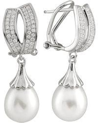 Splendid Splendid Freshwater Pearls Silver 8.5-9mm Freshwater Pearl & Cz Drop Earrings - Metallic