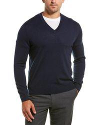 Brooks Brothers Merino V-neck Sweater - Blue