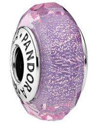 PANDORA - Silver Murano Glass Purple Shimmer Charm - Lyst