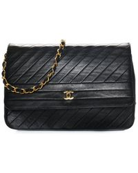 Chanel Black Quilted Leather Diagonal Quilted Flap Bag