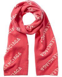 Balenciaga Logo Wool-blend Scarf - Red