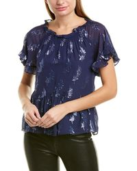 Rebecca Taylor Star-print Silk-blend Top - Blue