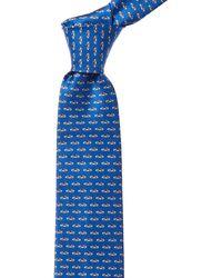 Ferragamo Blue Car Print Silk Tie