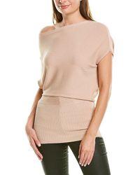Reiss Meryl Drape Sleeve Fitted Top - Pink