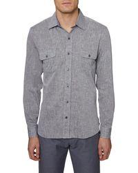 Hickey Freeman Straight Collar Linen-blend Woven Shirt - Grey