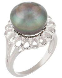 Splendid Silver 8-9mm Tahitian Pearl Ring - Metallic