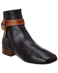 Loewe Gate Leather Bootie - Black