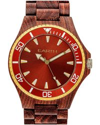 Earth Wood Unisex Centurion Watch - Red