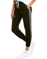 Monrow Lace-up Striped Sweatpant - Black