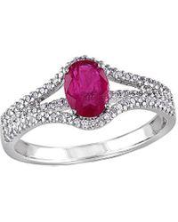 Rina Limor 10k 1.25 Ct. Tw. Diamond & Ruby Ring - Metallic