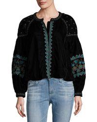 Antik Batik Koti Embroidered Jacket - Black