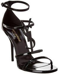 Saint Laurent Cassandra 100 Patent Sandal - Black
