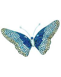 Arthur Marder Fine Jewelry 18k 12.50 Ct. Tw. Diamond & Sapphire Butterfly Brooch - Blue