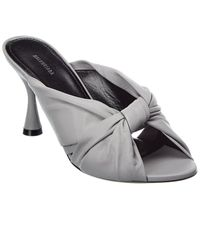 Balenciaga Drapy Leather Sandal - Gray