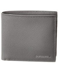 Burberry Leather International Bifold Wallet - Grey