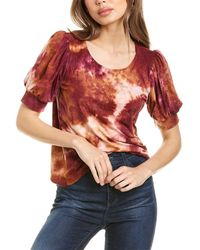 1.STATE Tie-dye Brushed Top - Red