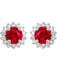 Diana M. Jewels . Fine Jewellery 14k 0.81 Ct. Tw. Diamond & Ruby Earrings - Red