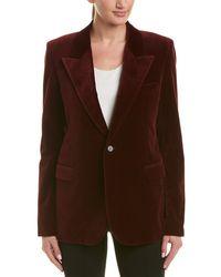 Saint Laurent Velvet Silk Jacket - Red