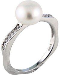 Splendid - Splendid Pearl Silver 7.5-8mm Freshwater Pearl & Cz Ring - Lyst