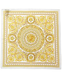 Versace 90x90 Barocco Scarf In Multicolour Silk - Yellow