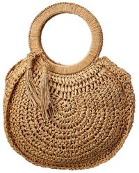 Surell Accessories Straw Circle Tote - Brown