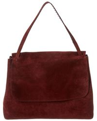 The Row Top Handle 14 Suede Shoulder Bag - Red