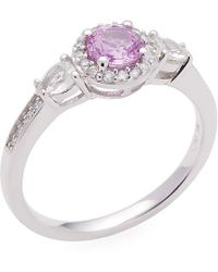 Rina Limor - 14k Pink And White Sapphire & Diamond Engagement Ring - Lyst
