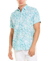 Robert Graham Defoor Linen-blend Woven Shirt - Blue