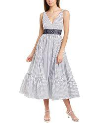 Silvia Tcherassi Canazei Stripe Midi Dress - White