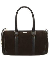 Gucci - Black Nubuck Leather Boston Bag - Lyst
