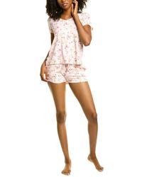 Flora Nikrooz 2pc Loreta Printed Shirt & Short Set - Pink