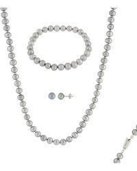Splendid - Silver 6-7mm Freshwater Pearl Bracelet, Earrings, & Necklace Set - Lyst