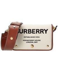 Burberry Small Horseferry Print Canvas & Leather Crossbody - White