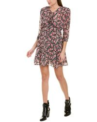 The Kooples Candy Flowers Metallic Detail Mini Dress - Pink