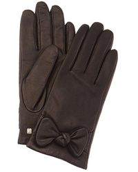 Bruno Magli Knotted Bow Cashmere-lined Leather Gloves - Black