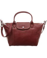 5e6e511854 Longchamp - Le Pliage Cuir Small Leather Short Handle Tote - Lyst