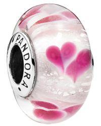 PANDORA Silver Murano Glass Wild Hearts Charm