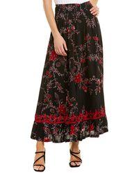 Raga Midnight Blossom Floral Smocked Maxi Skirt - Black