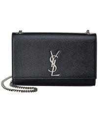 Saint Laurent Medium Kate Monogram Leather Shoulder Bag - Black