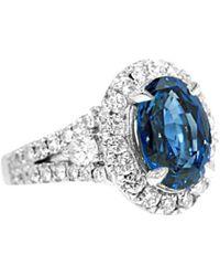 Diana M. Jewels . Fine Jewellery 18k 8.20 Ct. Tw. Diamond & Sapphire Ring - Blue
