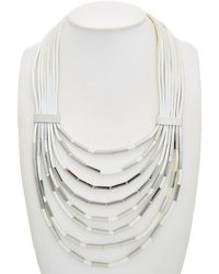 Lafayette 148 New York Leather 30in Necklace - Multicolor