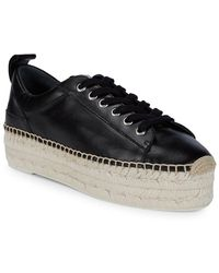 McQ Mcq Alexander Mcqueen Lace-up Leather Flatform Espadrille - Black