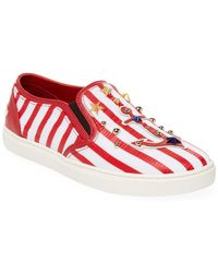 Dolce & Gabbana - Striped Nautical Leather Trainer - Lyst